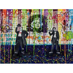 "Nastya Rovenskaya- Original Oil on Canvas ""Chaplin and Hardy"""