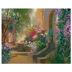 """Ming Feng, """"Sunlit Passage"""" Hand Embellished Limited Edition on Canvas, Numbered and Hand Signed wit"""