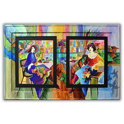 "Patricia Govezensky- Original Watercolors with Hand Painted Frame ""Lea & Mila"""