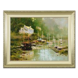"""Marilyn Simandle, """"Pont Aven"""" Framed Limited Edition on Canvas, Numbered 70/195 and Hand Signed with"""