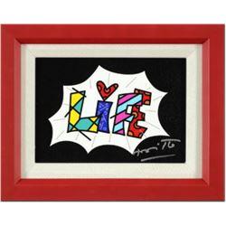 "Romero Britto- Giclee on Canvas ""Life Black Mini Word"""