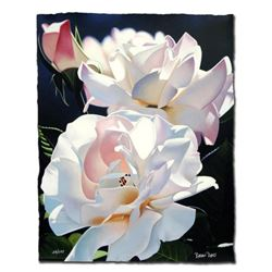 """Two White Roses"" Limited Edition Giclee by Brian Davis, Numbered and Hand Signed with Certificate o"