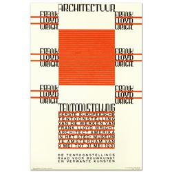 """Architectuur, F.L. Wright"" Hand Pulled Lithograph by the RE Society, Image Originally by Hendrikus"