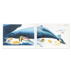"""I Want To Dive Into Your Ocean (Diptych)"" Limited Edition Lithograph with Hand Painted Remarque (62"