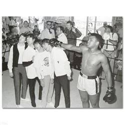 """Muhammad Ali Punching The Beatles"" Licensed Photograph of Heavyweight Champ Muhammad Ali and the Be"