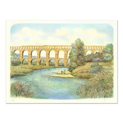 "Rolf Rafflewski, ""Pont du Gard Aqueduct"" Limited Edition Lithograph, Numbered and Hand Signed."
