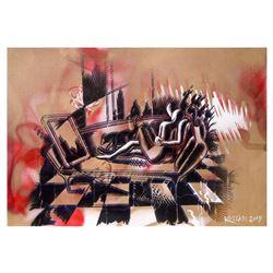"""Mark Kostabi """"The Golden Hour"""" Hand Signed Original Artwork with COA."""