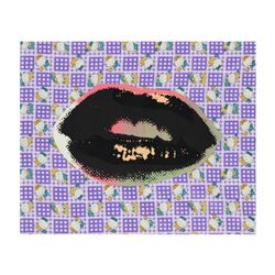 "Steve Kaufman (1960-2010), ""Lips"" Hand Painted Limited Edition Silkscreen on Canvas with Hello Kitty"
