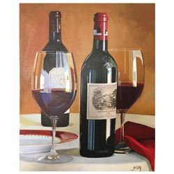 "Thomas Stiltz, ""Best of Bordeaux"" Hand Signed Original Painting on Canvas with Certificate of Authen"