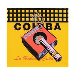 "Steve Kaufman (1960-2010), ""Cohiba"" One-of-a-Kind Mixed Media on Canvas, Hand Signed Inverso with Ce"