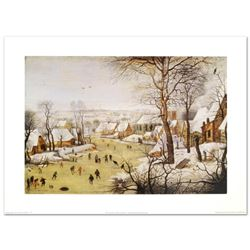 """Winter Landscape with Skaters and Bird-Trap"" by Pieter Brueghel the Younger (1564-1636), Created wi"