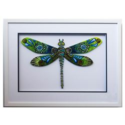 "Patricia Govezensky- Original Painting on Laser Cut Steel ""Dragonfly XL"""