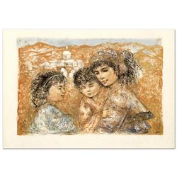 """""""Zalina with Aries and Ande"""" Limited Edition Lithograph by Edna Hibel (1917-2014), Numbered and Hand"""
