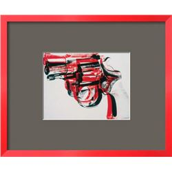 "Andy Warhol ""Gun, c.1981-82 (black and red on white)"" Custom Framed Offset Lithograph"