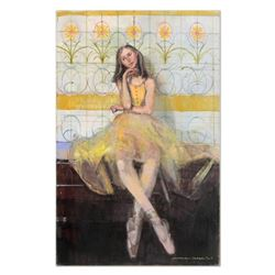 "Alex Zwarenstein, ""Little Ballerina"" Original Oil Painting on Canvas, Hand Signed with Certificate o"