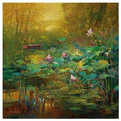 "Ming Feng, ""Golden Lily Pads"" Hand Embellished Limited Edition on Canvas, Numbered and Hand Signed w"