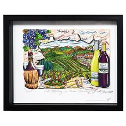 """Charles Fazzino- 3D Construction Silkscreen Serigraph """"A Tasting in Wine Country"""""""