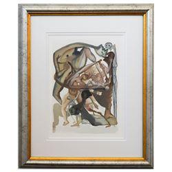 "Salvador Dali- Original Color Woodcut on B.F.K. Rives Paper ""Inferno 11"""