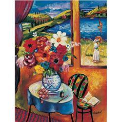"Oleg Nikulov- Original Giclee on Canvas ""Flower Vase with Countryside View"""