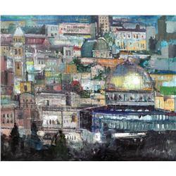 """Alex Zwarenstein """"Jerusalem at Dusk"""" Giclee on Canvas"""
