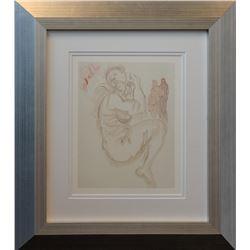 "Salvador Dali- Original Color Woodcut on B.F.K. Rives Paper ""Purgatory Canto 19"""