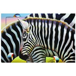 """Ferjo, """"On the Savanna"""" Original Painting on Canvas, Hand Signed with Letter of Authenticity."""