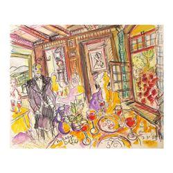"Wayne Ensrud ""Auberge de L'ill, France (3-star French restaurant)"" Mixed Media Original Artwork; Han"