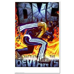 """DMC Battles The Deviants"" is a Numbered Chromatic Pigment Ink Limited Edition, Hand Signed by Darry"