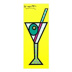 "Romero Britto ""Yellow Martini"" Hand Signed Limited Edition Giclee on Canvas; Authenticated"