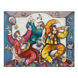 "Michael Kachan, ""Musicians"" Hand Embellished Limited Edition Serigraph on Canvas, Roman Numbered Inv"