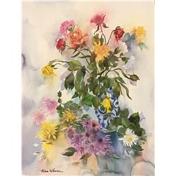 """Zina Roitman- Original Watercolor """"composition with flowers """""""