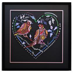 "Patricia Govezensky- Original Painting on Laser Cut Steel ""Love Birds XV"""