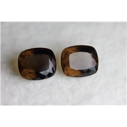Natural Smoky Quartz Pair 13x11 MM - Flawless- VVS