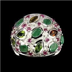 Natural  Emerald Tourmaline & Ruby Ring