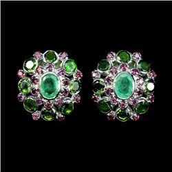 Natural Emerald Chrome Diopside Rhodolite Earrings
