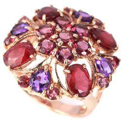 Natural RED RUBY AMETHYST RHODOLITE GARNET Ring