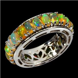 Natural Unheated Oval White Opal Rainbow Ring