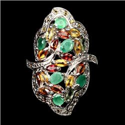 Natural Unheated Oval Emerald & Sapphire Ring