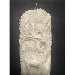 Hand Carved Antler Dragon Pendant