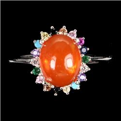 Natural Oval Orange Fire Opal Ring