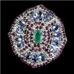 Natural Green  Emerald Ruby  & Tanzanite Ring