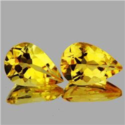 Natural Golden Yellow Citrine Pair{Flawless-VVS1}