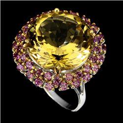 Natural Citrine & Rhodolite Garnet Handmade Ring