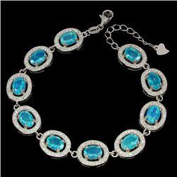 Natural Oval Blue Fire Opal Bracelet