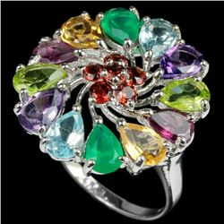 Natural Multi Gemstones Ring