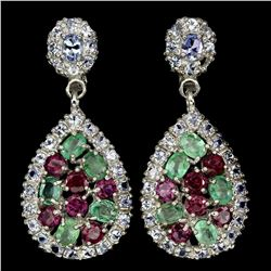Natural Emerald Rhodolite Garnet Tanzanite Earrings