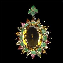 Natural Citrine Emerald Tourmaline Pendant/Brooch