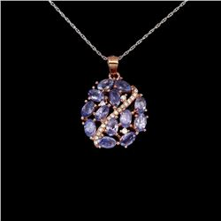 Natural Oval  Violet-Blue Tanzanite Pendant