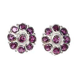 Natural Unheated Rhodolite Garnet Earrings