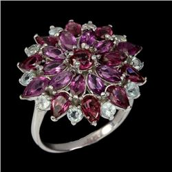 Natural Rhodolite Garnet Tanzanite Tourmaline Ring